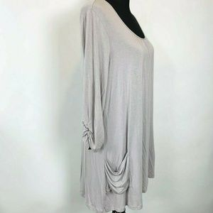 LOGO Lori Goldstein Tunic Top size M Gray Long